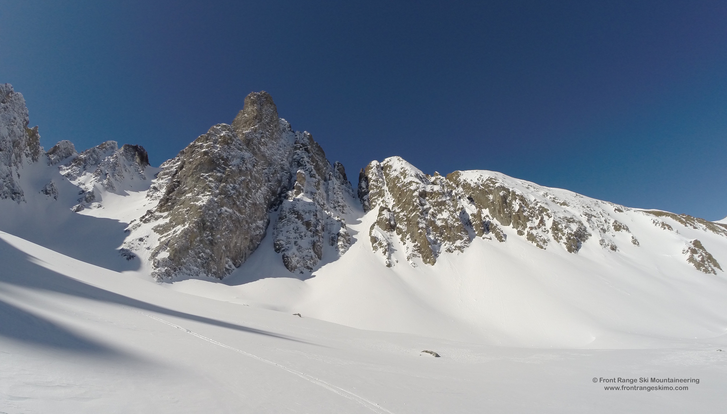 The Three Sisters, Nokhouloir, and Breakfast Couloir.