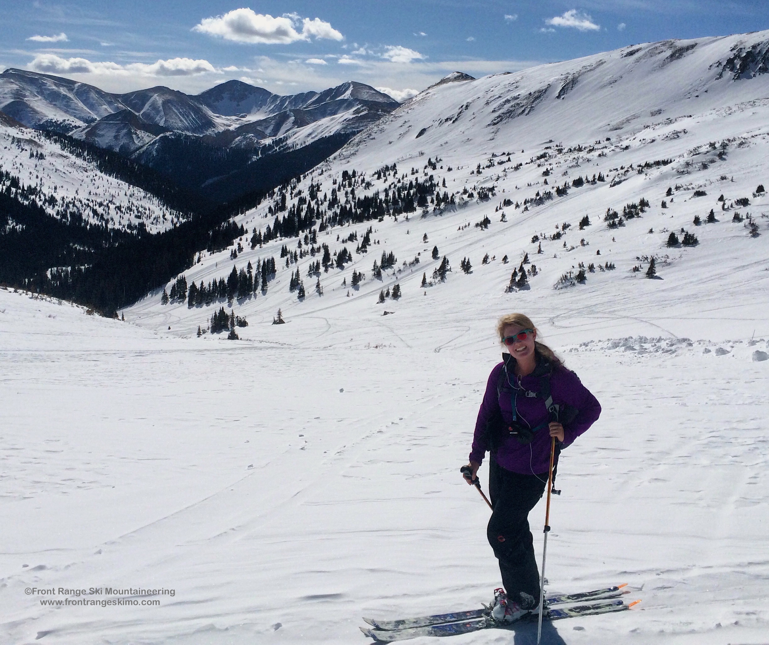 High up in the West Fork Bowl. Skier: Mary Writz