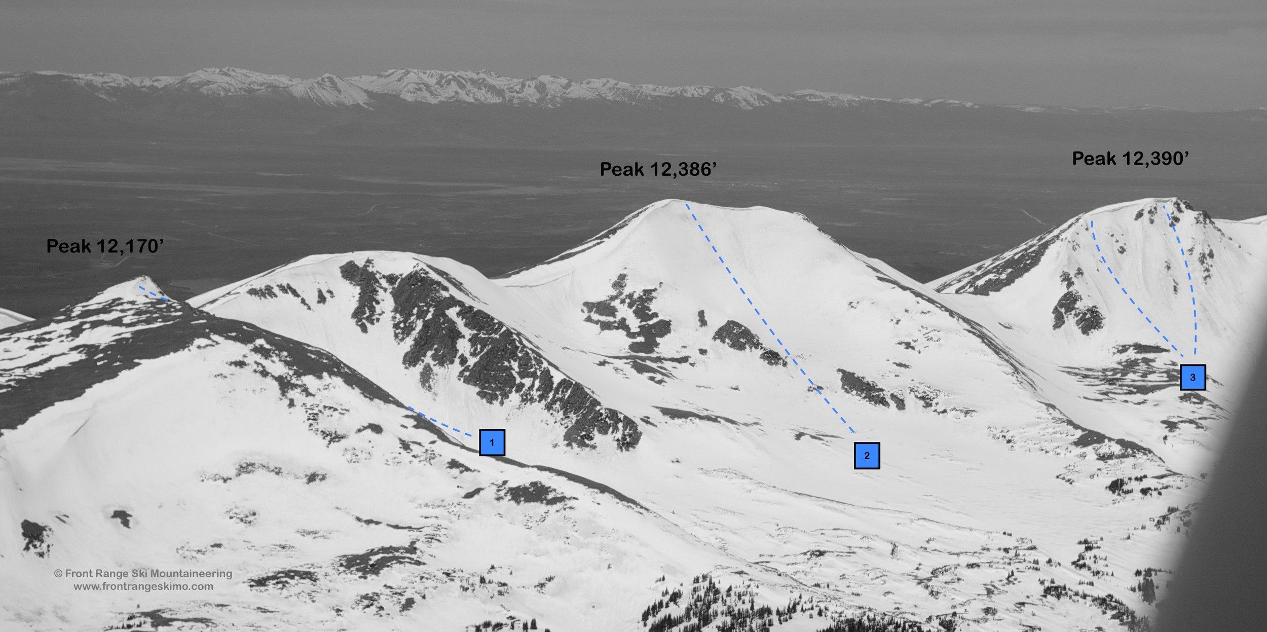 Sawmill Creek Peaks from the southwest.