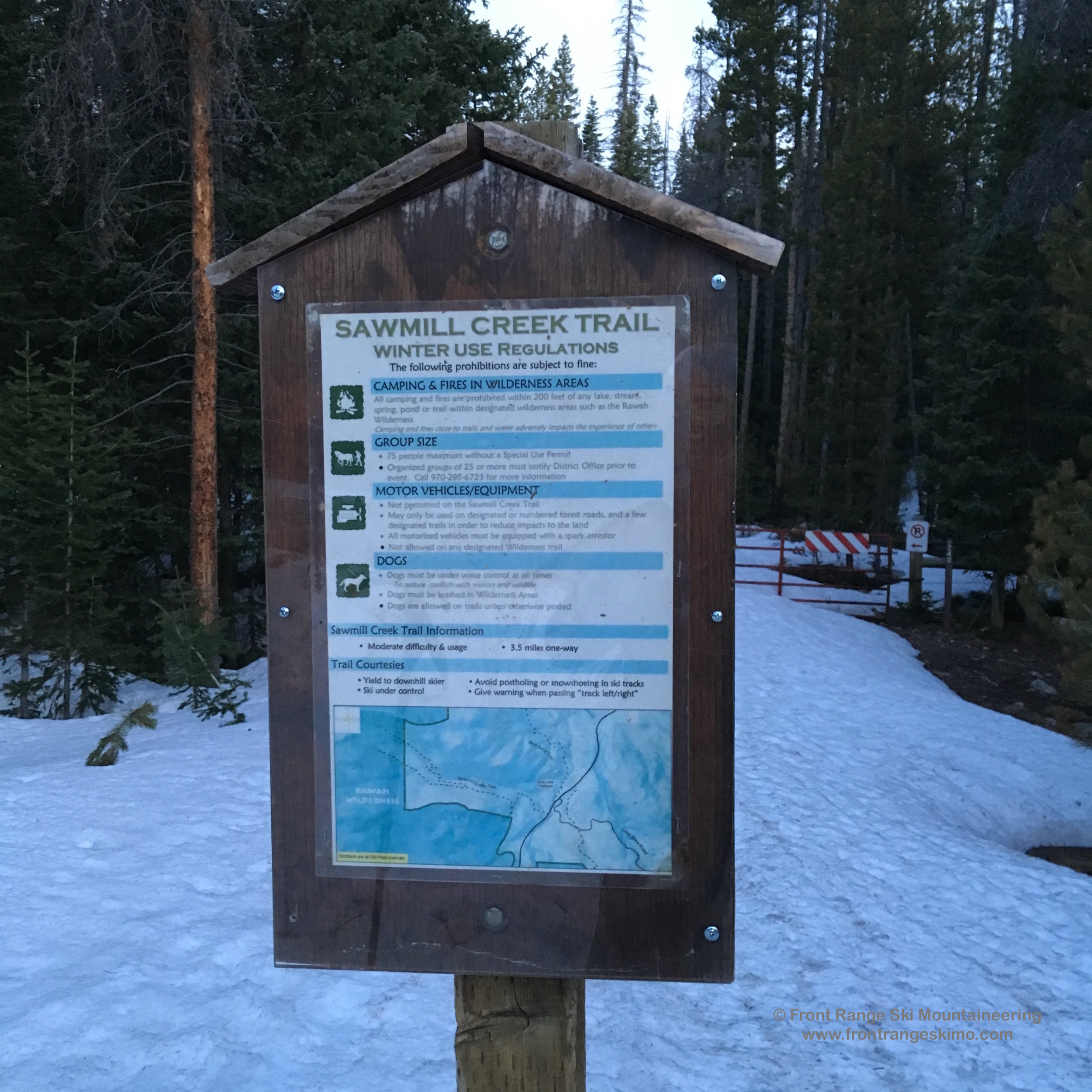Sawmill Creek Trailhead is a brief hike up Highway 14 from Blue Lake Trailhead.
