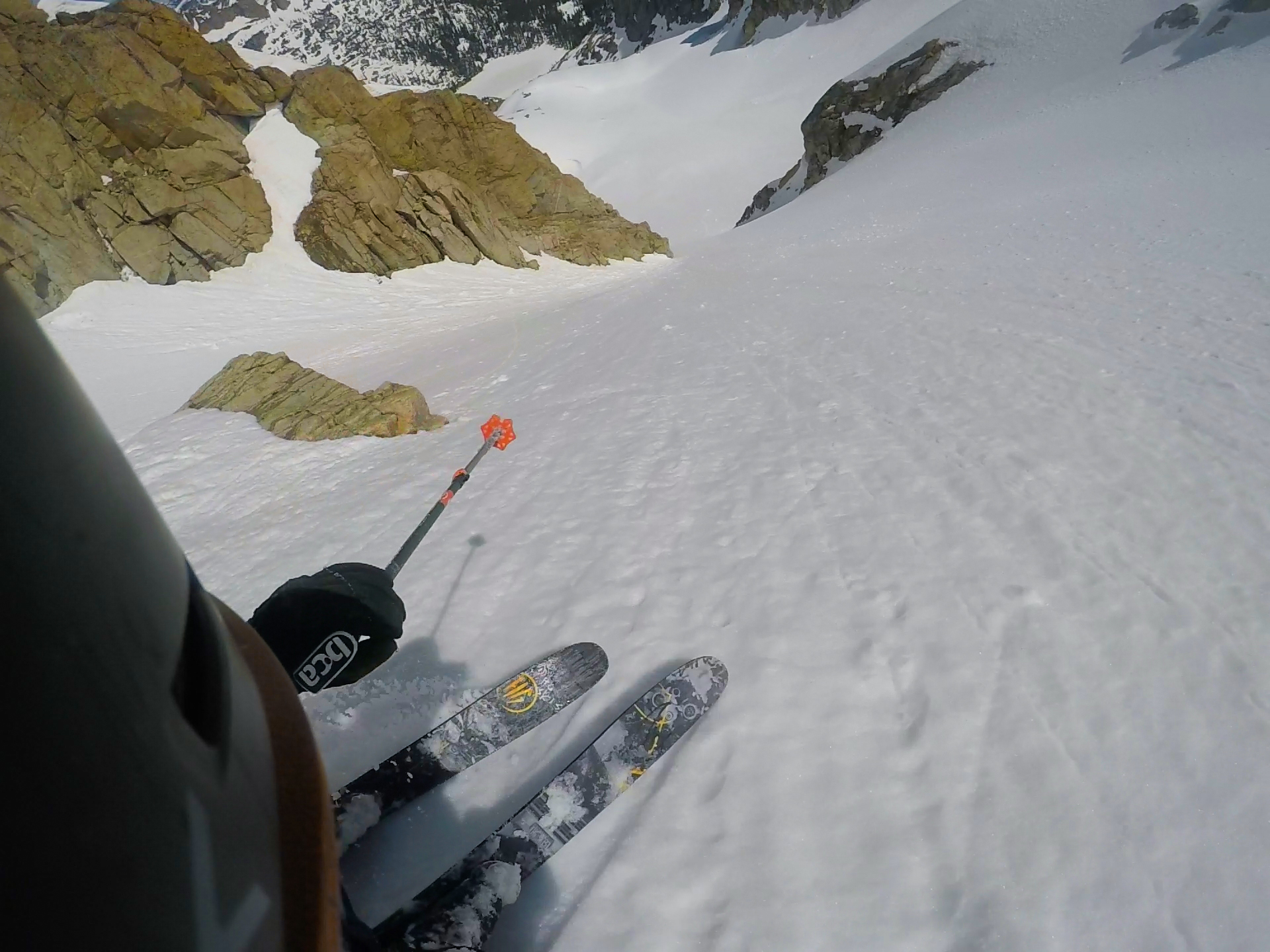 Skiing a choice line on the Peck Glacier.