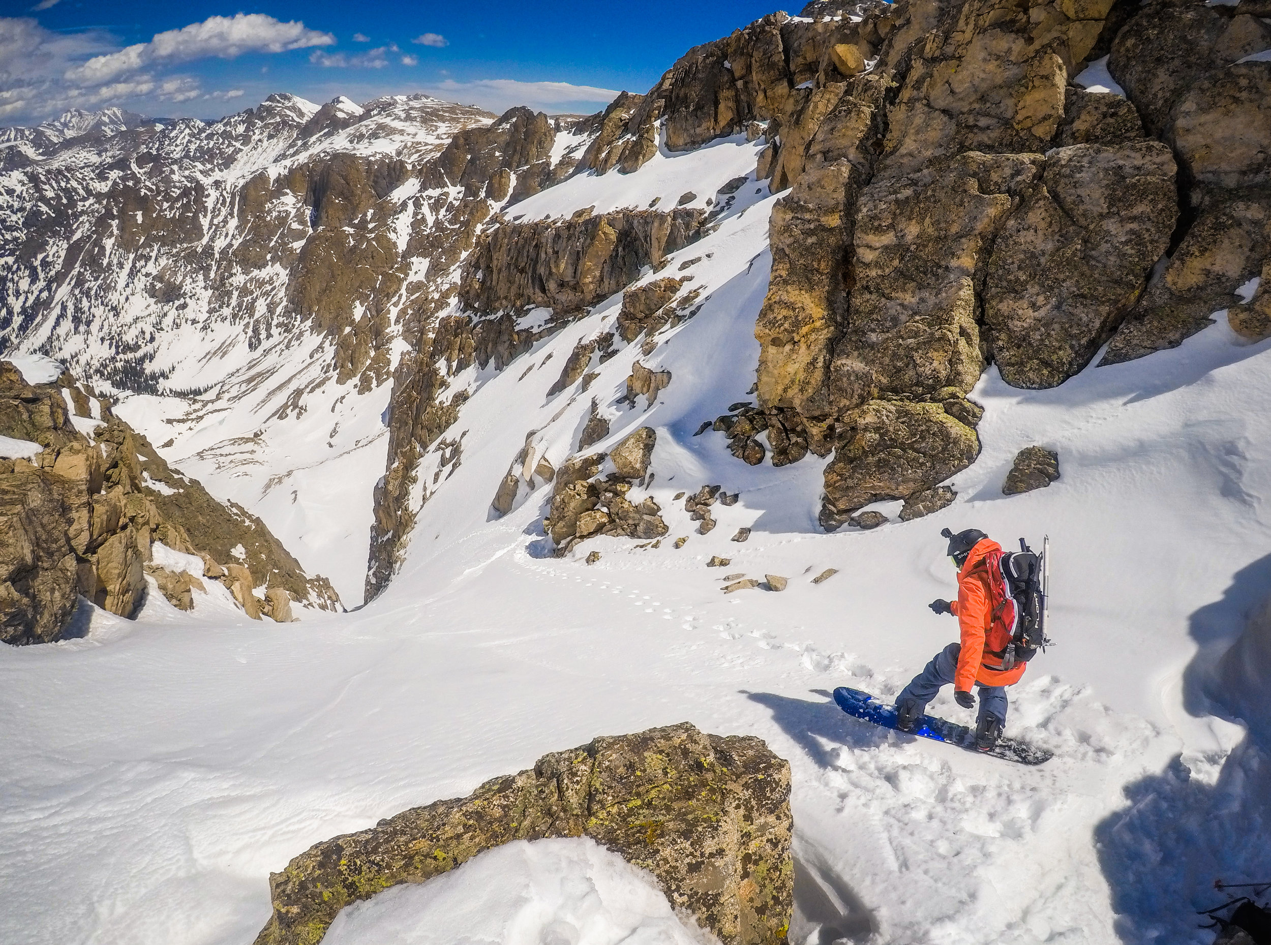 Dropping into the Mount George Couloir.