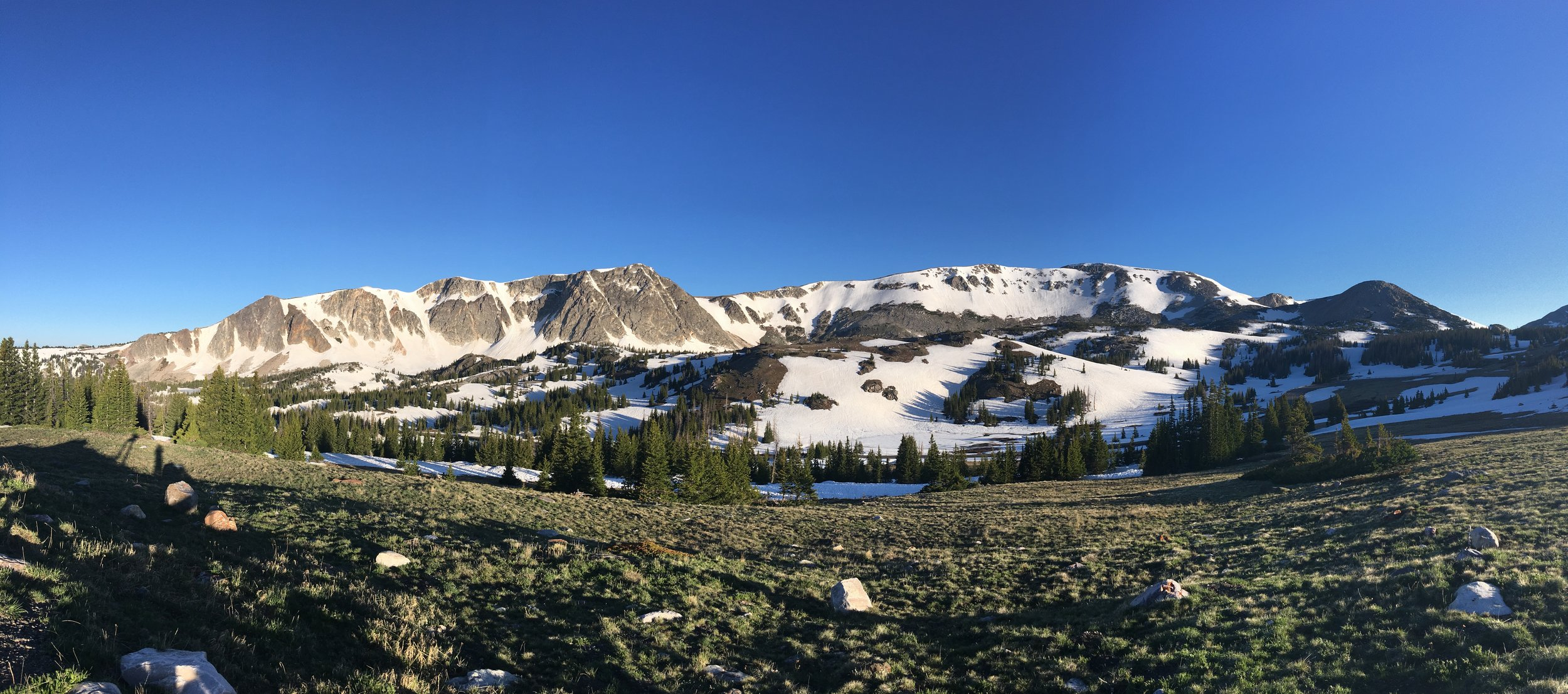 The full view of Medicine Bow Peak from the overlook on Highway 130.