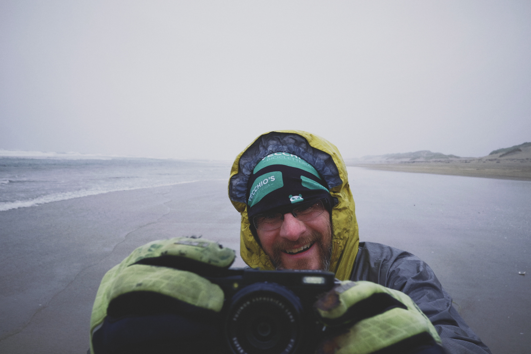 Dan Bailey on the Oregon beach with the  Fuji X70 , shot with my X70.