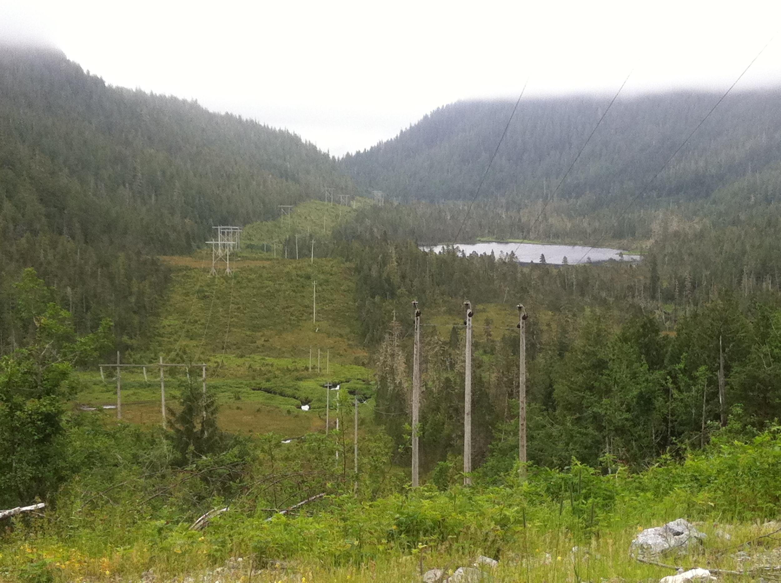 Transmission line down ravine