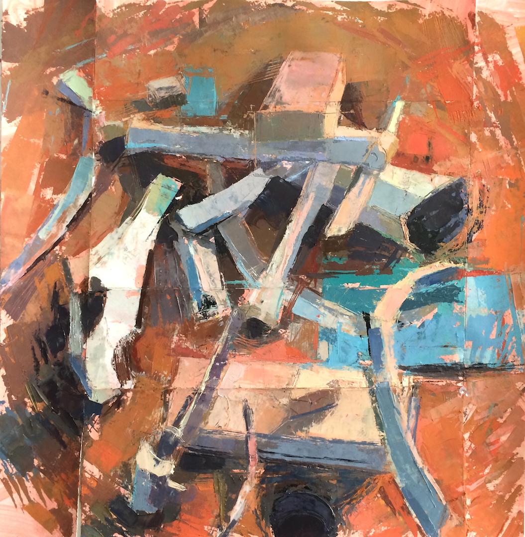 Blocks and Bones, Paint on Paper 18 x 18 Jesse Thomas