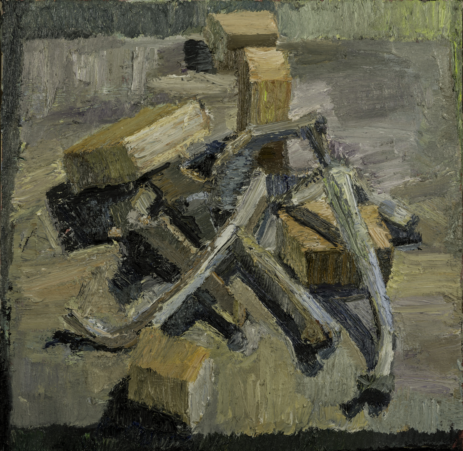 T.V. Bones and Blocks #1, Home Made Oil on Canvas 24 x 24 Jesse Thomas