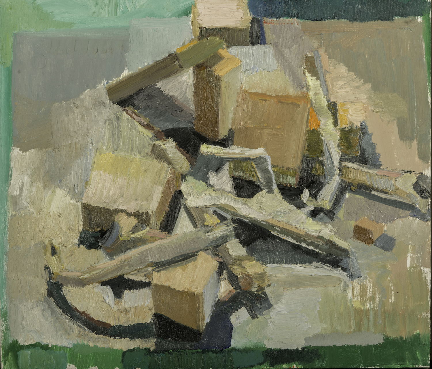T.V. Bones and Blocks #3, Home Made Oil on Canvas 19 x 27 Jesse Thomas