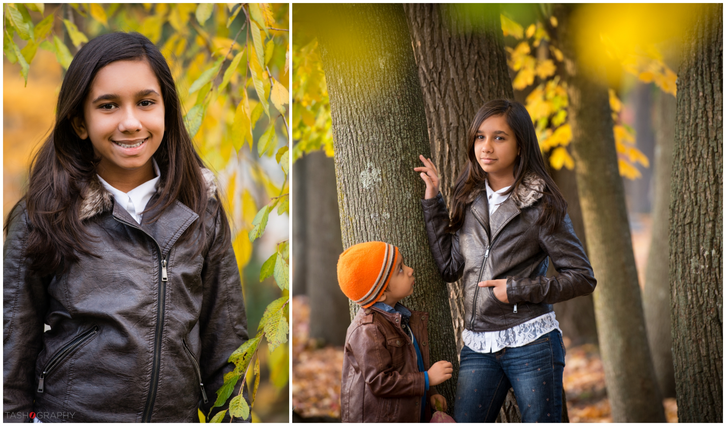The yellow-green foliage is my favorite - I just love the bit of out of focus leaves that frame these portraits of their daughter.