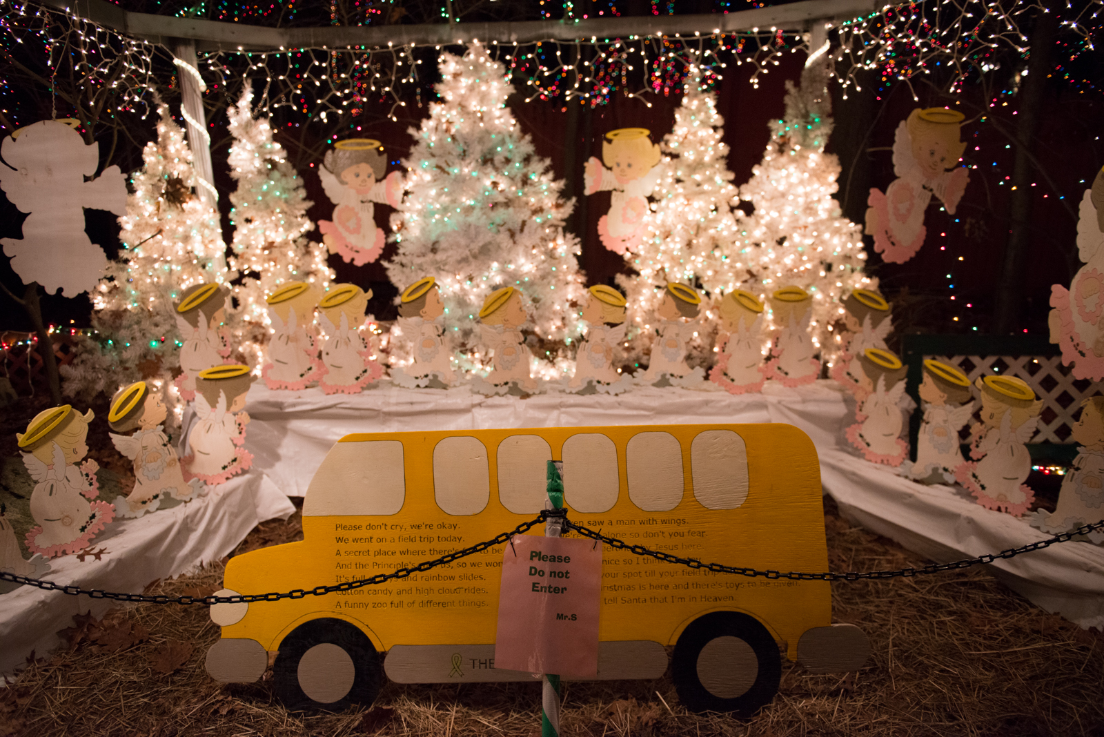 This memorial display was created by the Settis in remembrance of the innocent lives of 20 childrenand 6 adult staff members lost during the tragic Sandy Hook Elementary School shooting on 12/14/12 in Newtown, CT.
