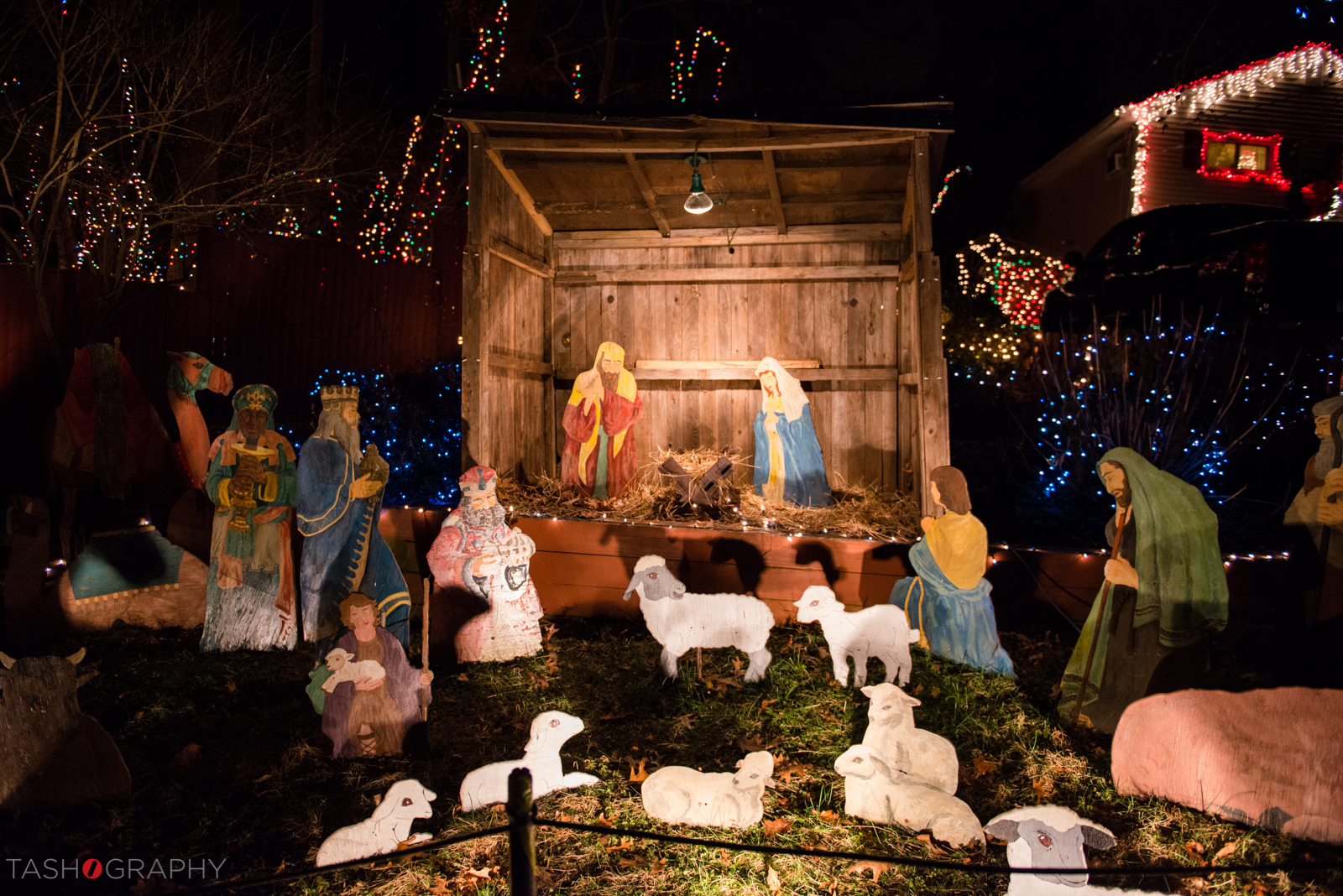 The Nativity scenefeaturing a handmade creche and figures.