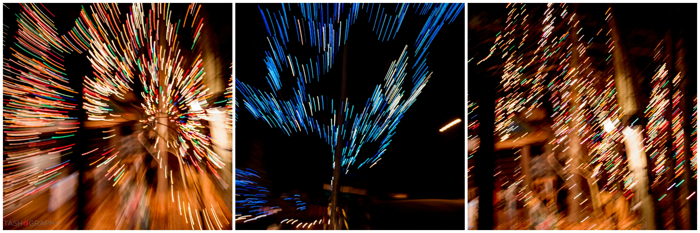 The Christmas lights with slow shutter speed whilezooming.