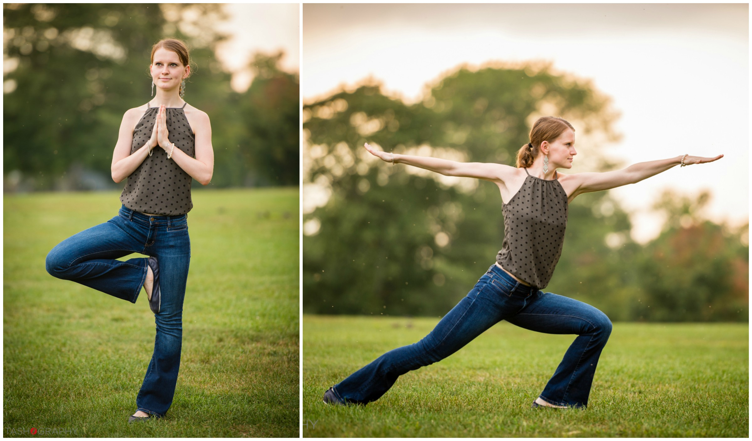 Anna striking her favorite yoga poses in the gorgeous light.