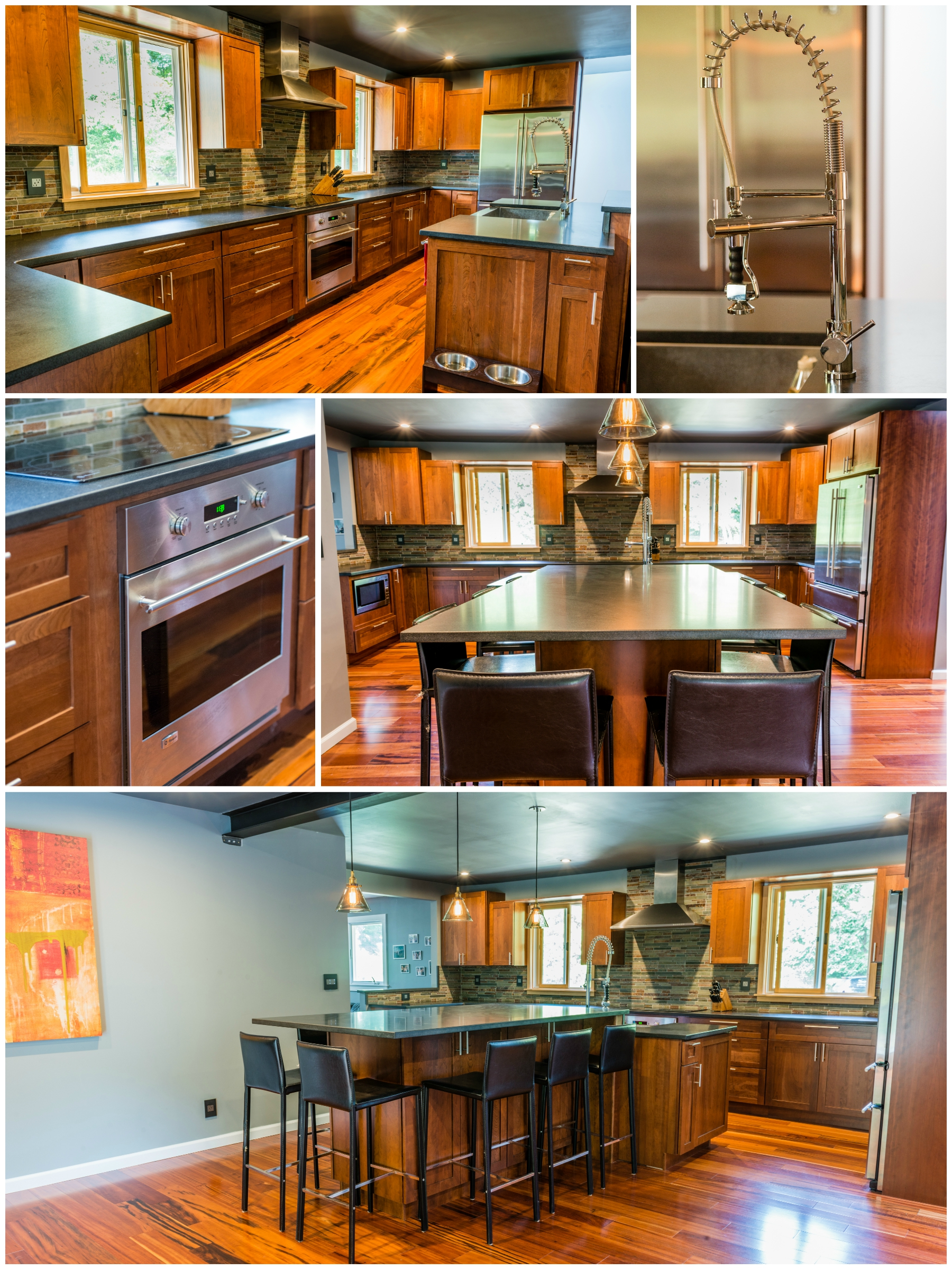 Gorgeous LED lighting throughout the house and custom cabinetry in the kitchen.