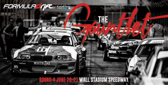 """The track lives up to its moniker as the """"Gauntlet"""" with a 16 degree banked oval along the straightaway and 30 degrees on the turns. The drivers will be challenged on this course and this track is the first on the schedule where drivers utilize the entire oval. This course is very tricky and many drivers have fallen victim to the degree of difficulty that the bank, straightaway, and inside turn creates. Each seat in the house has a great view of the action within the """"bowl"""" and fans will not be disappointed.    The final round on the East Coast at Wall Speedway will be one of the most exciting events of the season. The 2-day event weekend will be filled with the best drifting action in the nation with the top drivers putting it all on the line on the very tricky course. Wall Speedway is a very fan-friendly venue and fans will be treated to a great view of all the action.     Click here  for more information and to purchase tickets."""