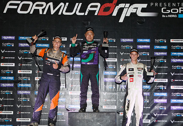 "Long Beach, Calif. – October 11, 2014 – Formula DRIFT returned to Irwindale Speedway for the 2014 Pro Championship season finale. Daigo Saito in the Achilles Radial Lexus SC430 takes the event victory. Chris Forsberg in the Hankook Tire Nissan 370Z wins his second career championship.    Round 7: Final Fight held at Irwindale Speedway did not disappoint the sold out crowd with an action packed weekend that featured the Pro Championship, PRO 2 Championship, Offset Kings car show and more. The Driftstream had over 200,000 unique viewers to the live stream for the event weekend.    ""What a way to end the 2014 Pro Championship season,"" says Jim Liaw, President of Formula DRIFT. ""We could not have asked for a more climatic ending with the championship determined at the very last battle of the season. The competitive rivalry that Aasbo and Forsberg had all season could not have been any more exciting.""    Entering the event, Forsberg lead the Pro Championship chase by a mere 26 points. As the competition progressed through the night both Aasbo and Forsberg would meet in the Top 4 to control their championship destiny. Aasbo in one of the tightest battles of the evening got the better of Forsberg for the fourth time this season in head to head battles, yet he needed to win the entire event to win the championship.    ""A wild season for us. We wanted the championship so bad after last year,"" said Chris Forsberg, 2014 Formula DRIFT champion. ""Taking the win in Long Beach and holding the lead throughout the season to the Finals only to basically lose to Aasbo every time we went up against him. He was our kryptonite all season long. We were able to hold him off just enough to take the championship home and we are super pumped and very proud of our team for giving us the best car we ever had.""    The number one qualifier, Forrest Wang in the Get Nuts Lab / Hankook / STR Racing Nissan S14 went against Daigo Saito in the Top 4. In a close battle, Saito edged out Wang to make it into the Finals against Aasbo. In another closely fought battle, Saito beat out Aasbo, to win his third consecutive victory at Irwindale Speedway, having won the event in 2012 and 2013, and helping to award Forsberg with his second Pro Championship. Forsberg is only the third driver in Formula DRIFT history to hold two championships with his 2009 championship and now 2014 championship.    ""This year we have had a very hard time with our results and ranking,"" said Daigo Saito, winner of Round 7: Final Fight. ""We are excited to earn a win to end the season here at Irwindale Speedway. This is also the third win for us in a row here and I am very happy.""    In addition to the 2014 Championship, both the Tire and Manufacturer Championships were determined at Round 7: Final Fight. Hankook Tire won the Tire Manufacturer Championship, while Scion won the Manufacturer Championship.    For more information visit: www.formuladrift.com and find Formula DRIFT on Instagram @formulad, Facebook www.facebook.com/formuladrift and Twitter @FormulaDrift.    Formula DRIFT Professional Championship Presented by GoPro 2014 Final Standings    1. Forsberg, Chris Hankook Tire Nissan 370Z 561.50 Points   2. Aasbo, Fredric Hankook Tire Scion Racing tC 550.00 Points   3. Gittin Jr., Vaughn Monster Energy / Nitto Tire Ford Mustang RTR 393.00 Points   4. Bakchis, Aurimas ""Odi"" Feal Suspension / Nitto Tire Nissan 240SX 364.50 Points   5. Wang, Forrest Get Nuts Lab / Hankook Tire / STR Racing Nissan S14 331.50 Points   6. Moen, Kenneth Bridges Racing Nissan 240SX 310.50 Points   7. McNamara, Darren Falken Tire Nissan S14 298.00 Points   8. Kearney, Dean Oracle Lighting Dodge Viper SRT 287.00 Points   9. Pawlak, Justin Falken Tire Ford Mustang 277.00 Points   10. Grunewald, Conrad Megan Racing / Top 1 Oil / BRE Chevrolet Camaro 262.50 Points   11. Nishida, Robbie Achilles Radial / Bridges Racing Lexus SC300 261.00 Points   12. Tuerck, Ryan Retaks Maxxis Tires Air Force PSI Scion FR-S 235.00 Points   13. Gushi, Ken GReddy Performance / Scion Racing Drift FR-S 227.50 Points   14. Saito, Daigo Achilles Radial Lexus SC430 224.00 Points   15. Field, Matt CX Racing Nitto Tire Nissan 240SX 221.50 Points   16. Essa, Michael Essa Autosport / Yokohama BMW M3 218.50 Points   Round 7: Final Fight Event Results   1. Saito, Daigo Achilles Radial Lexus SC430 Winner   2. Aasbo, Fredric Hankook Tire Scion Racing tC 2nd Place   3. Wang, Forrest Get Nuts Lab / Hankook Tire / STR Racing Nissan S14 3rd Place    Manufacturers Championship Final Standings    1. Scion 843.00 Points   2. Nissan 721.00 Points   3. Ford 670.00 Points   4. Lexus 485.00 Points   5. Chevy 471.50 Points    Tire Championship Final Standings    1. Hankook 1119.50 Points   2. Nitto 836.00 Points   3. Achilles 801.00 Points   4. Falken 681.50 Points   5. Maxxis 386.50 Points"