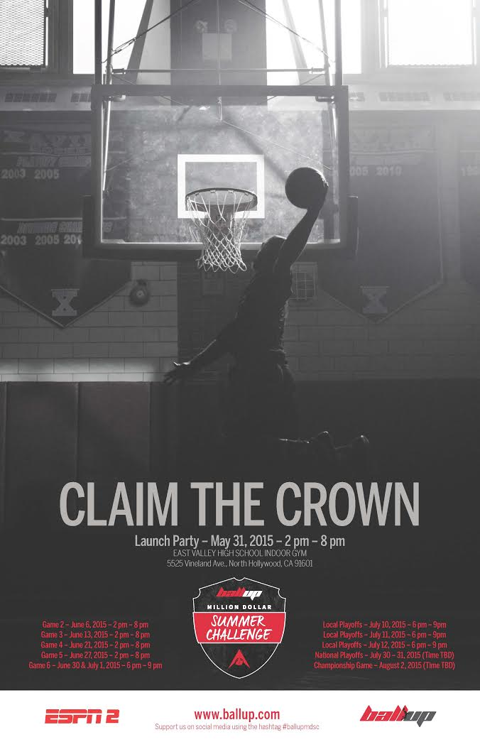 Every summer, all over the country, basketball teams battle it out on the streets to be crowned kings of their city. It's time to see who will go from local legend to national champion with Ball Up Million Dollar Summer Challenge. Played in six markets throughout the summer, this new and exciting summer challenge will feature elite competition that raises the bar of summer basketball, and culminates with the top teams from each city competing on a national stage for a life-changing prize and ultimate bragging rights.    Ball Up will be coming to LA for the Million Dollar Summer Challenge Launch Event, this Sunday, May 31st @ East Valley High School (5525 Vineland Ave., North Hollywood, CA 91601) starting at 2:00pm - 6:30pm with games happening every weekend all summer long. The LA market has teams coached by players such as Nick Young, Jamal Crawford, and Dorell Wright to name a few. Let me know if you would be or anyone in your office would be interested in attending and/or covering.    This is the greatest display of streetball talent that LA has to offer, and will be free and open to the public. Million Dollar Summer Challenge will air on ESPN later this year.    Please let me know if you would be interested in interview opportunities with participating players/coaches, the Competition Director and the Ball Up CEO. I've attached the press releases here with more information.    BALL UP MDSC  Sunday, May 31st 2PM - 6:30PM   East Valley High School Indoor Gym  5525 Vineland Ave., North Hollywood, CA 91601  All Games Are Open And Free To The Public  RUN YOUR COURT. RUN YOUR CITY. RUN YOUR COUNTRY.  Media RSVPs: shamz@theidagency.com Interview Inquiries: julia@theidagency.com