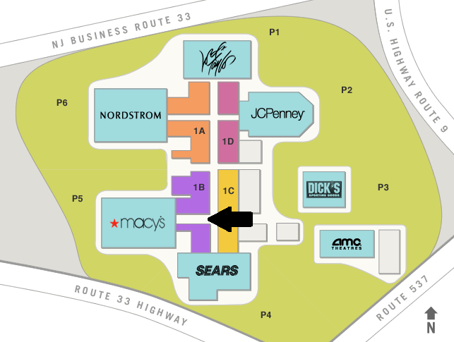 Freehold Raceway Mall Map
