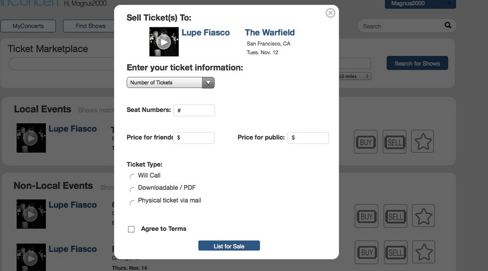 Ticket sales workflow page one