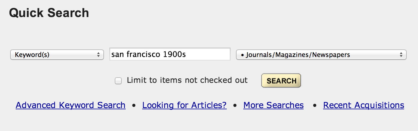 """Users searched for articles using general keywords in """"Quick Search."""""""