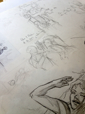 Scribbles that eventually turn into thumbnails.