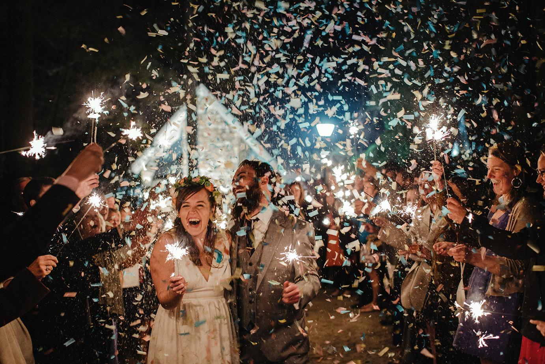 Bride and groom sparkler exit at Camp Kanuga, Hendersonville, NC.