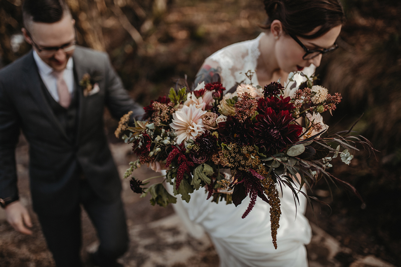 Bride and grrom climb a mountain to get married in WNC.