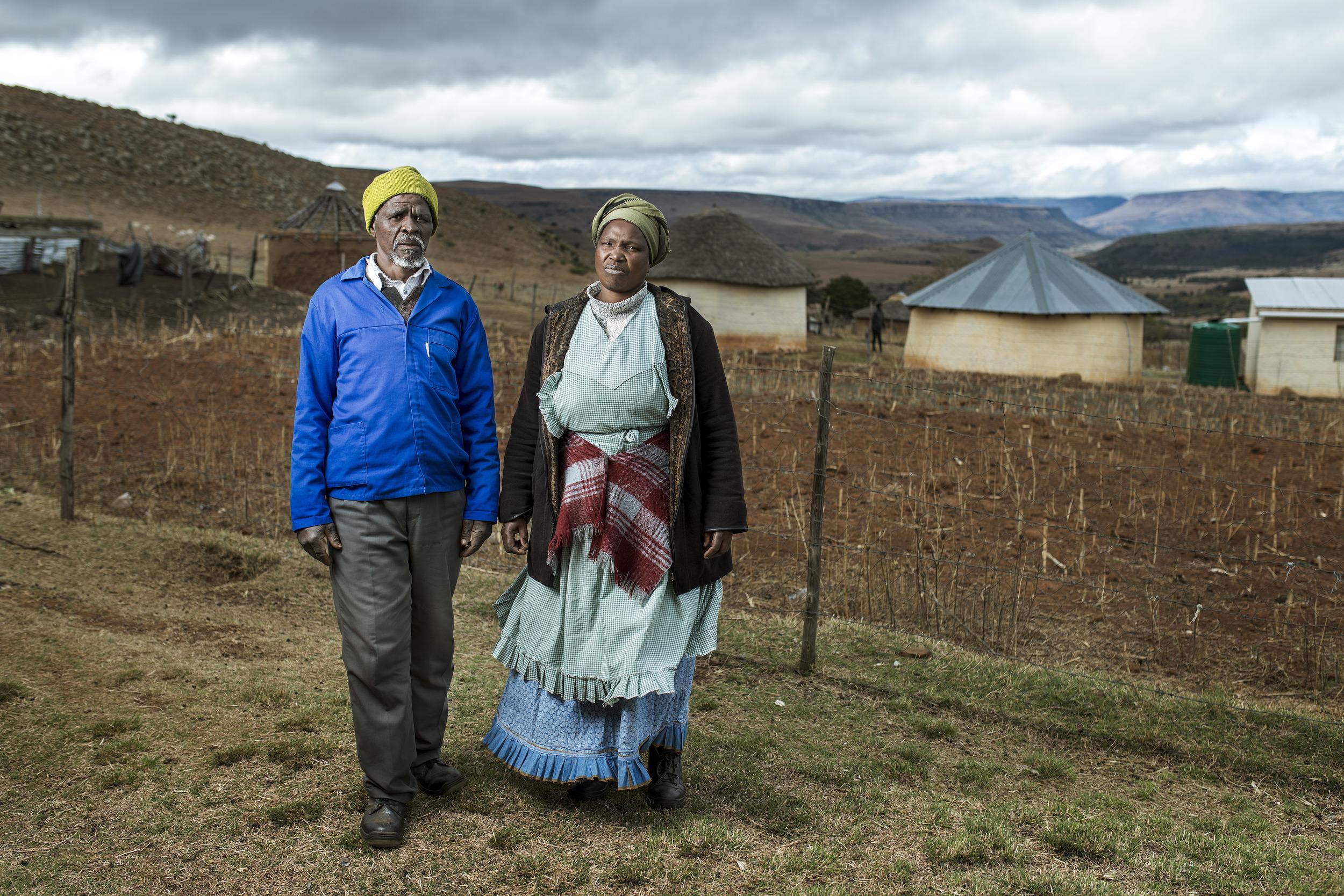 Buzile &Nowongile Nyakaza in their garden.
