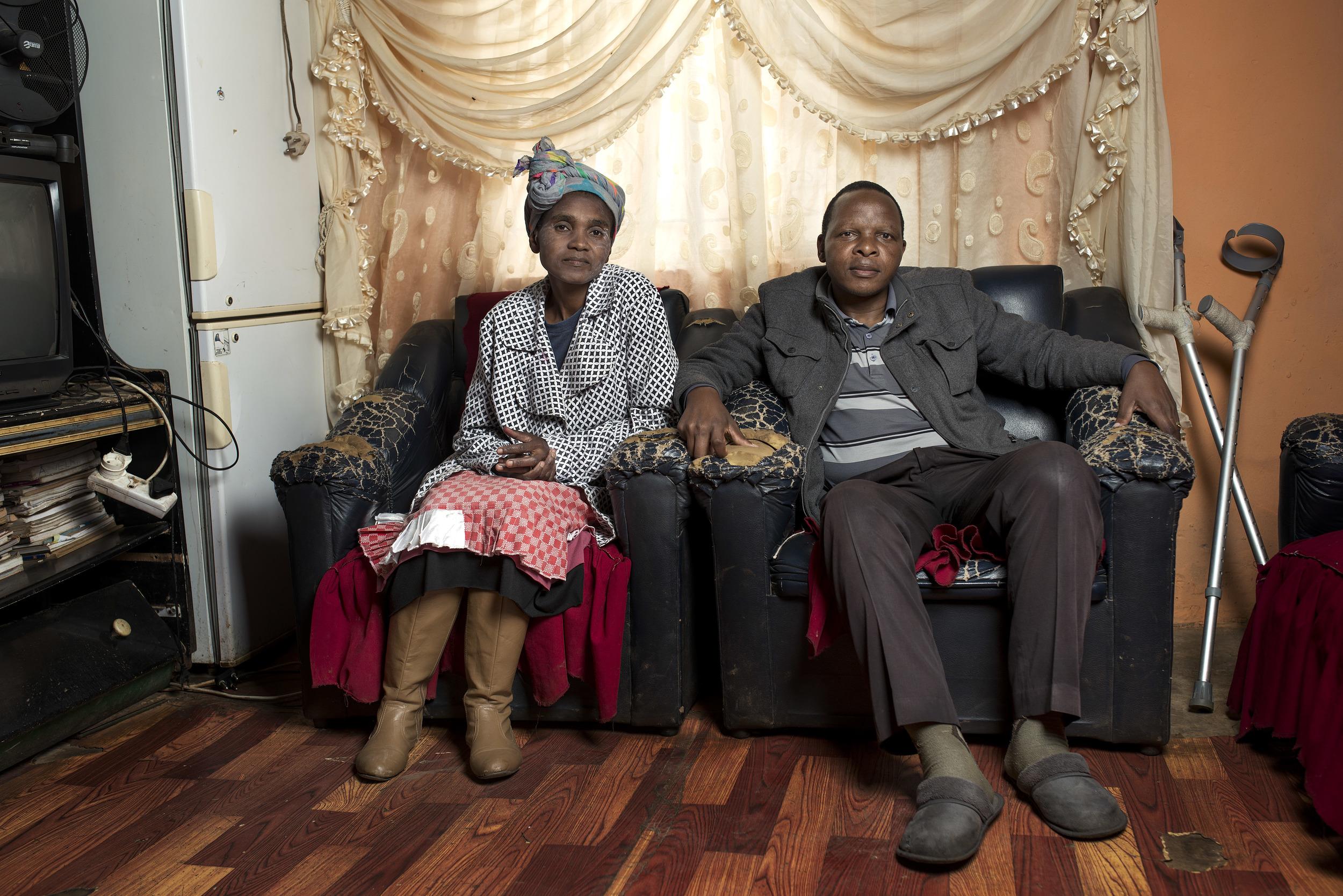 Landile & Nomzi Elizabeth Qebela at home.