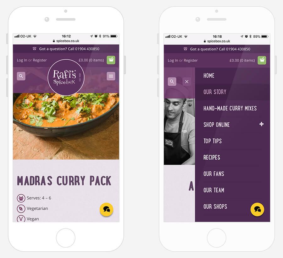 Rafi's Spice Box - Website design