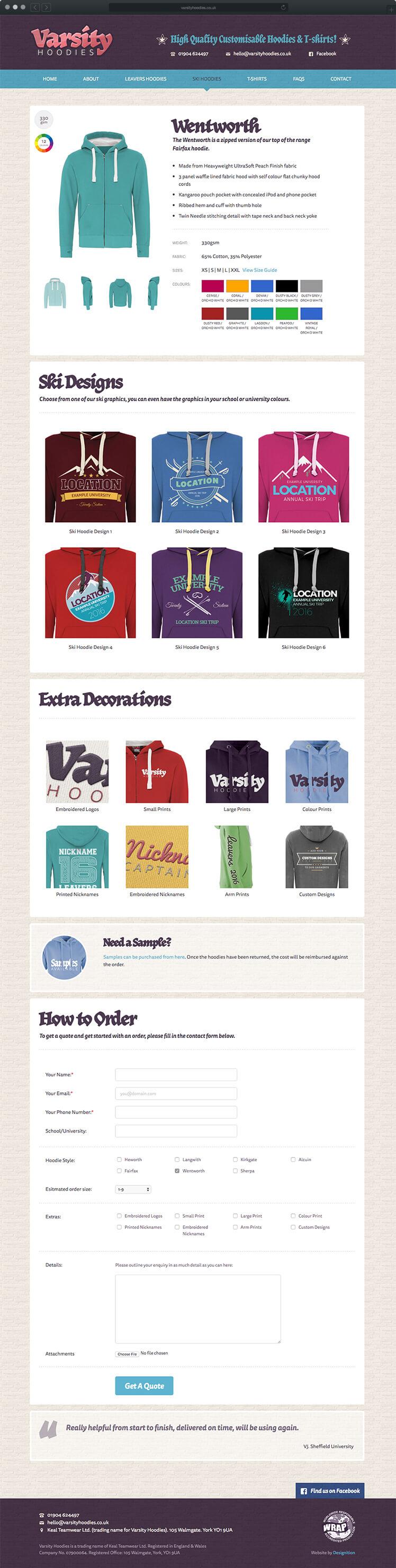 Varsity Hoodies - Website design
