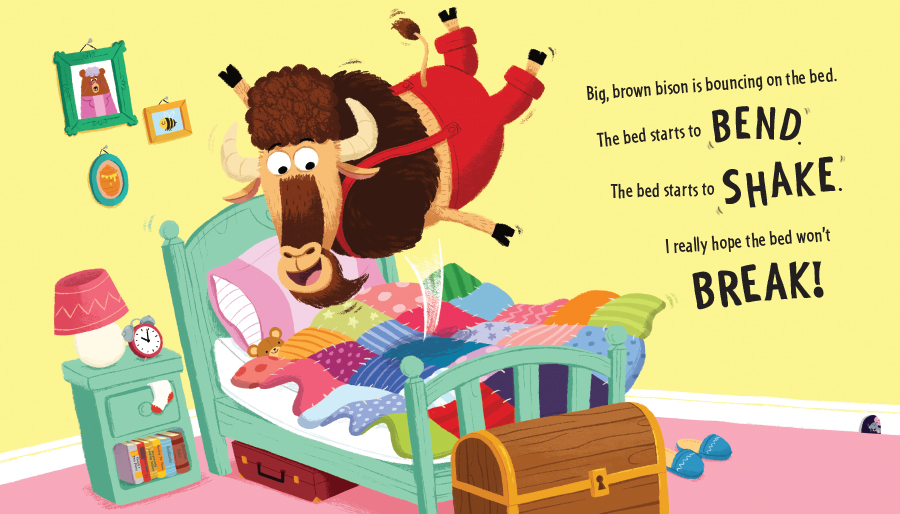 There's a Bison Bouncing on the Bed illustration by Chris Chatterton