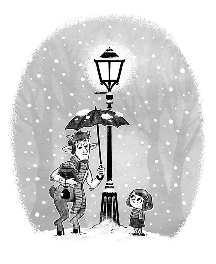 Mr Tumnus and Lucy illustration by Chris Chatterton