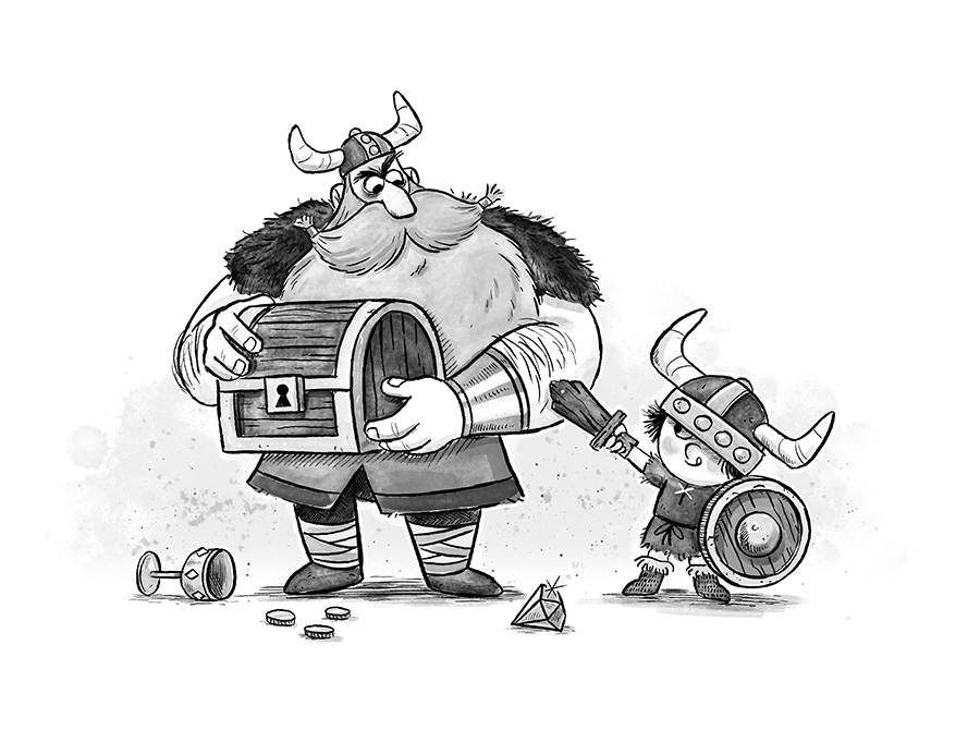 Viking and son illustration by Chris Chatterton