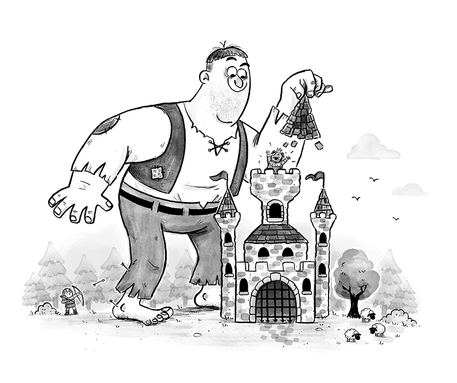 Giant attacking a castle illustration by Chris Chatterton