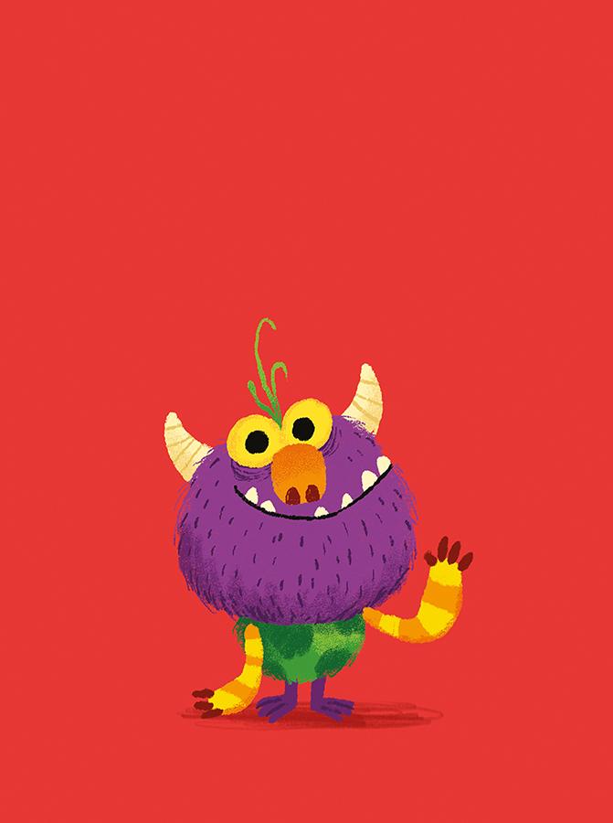 Monster waving illustration by Chris Chatterton