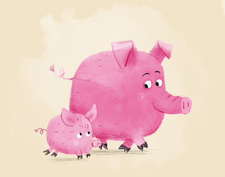 Father pig with son illustration by Chris Chatterton