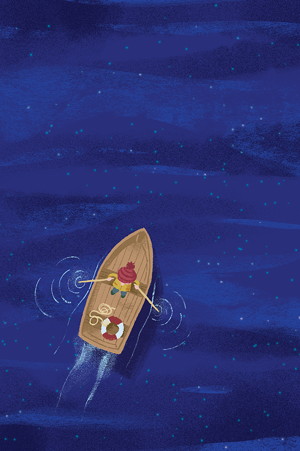 Row Boat from above at night illustration by Chris Chatterton