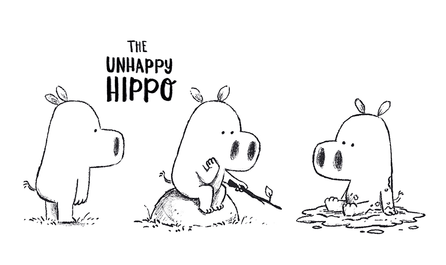An unhappy Hippo sketches by Chris Chatterton