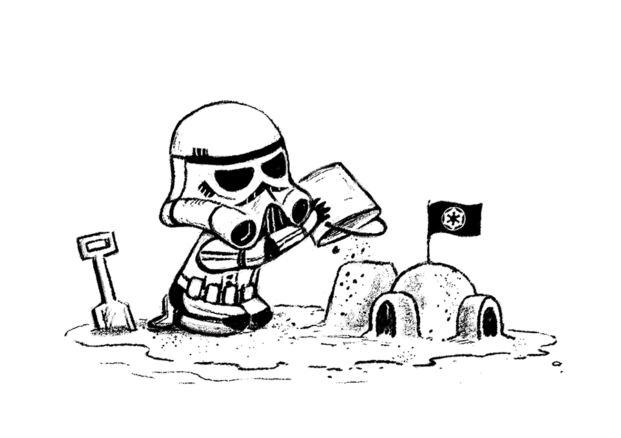 Stormtrooper on beach building sandcastle sketch by Chris Chatterton