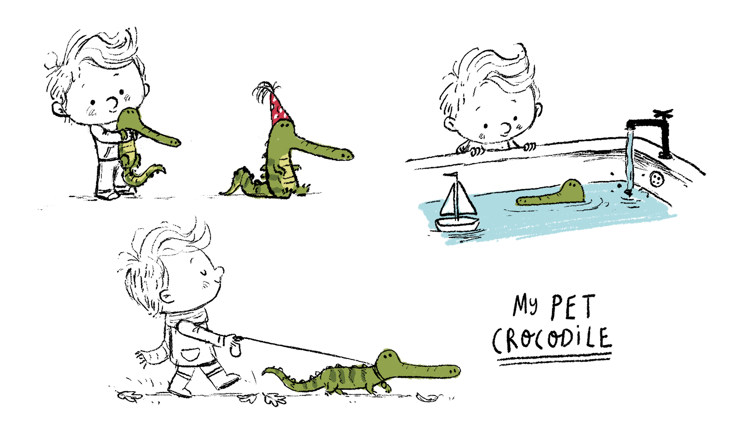 boy and crocodile sketch by Chris Chatterton