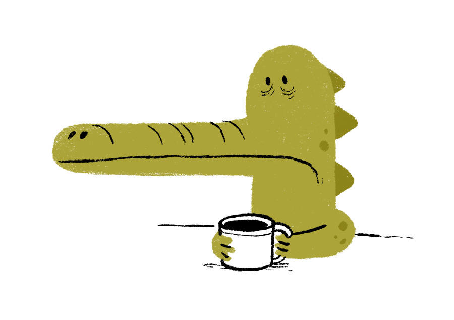 Crocodile drinking coffee illustration by Chris Chatterton