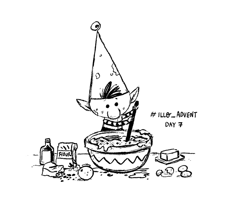 Christmas Elf baking sketch by Chris Chatterton