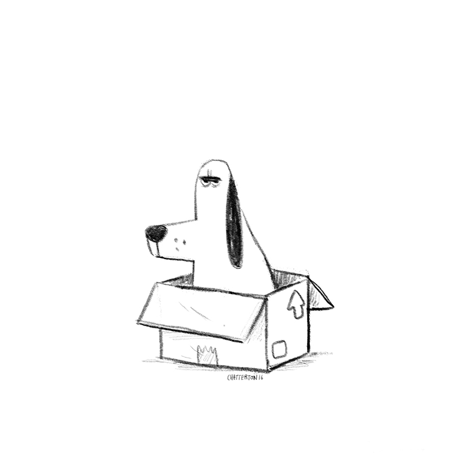 Grumpy dog in box sketch by Chris Chatterton