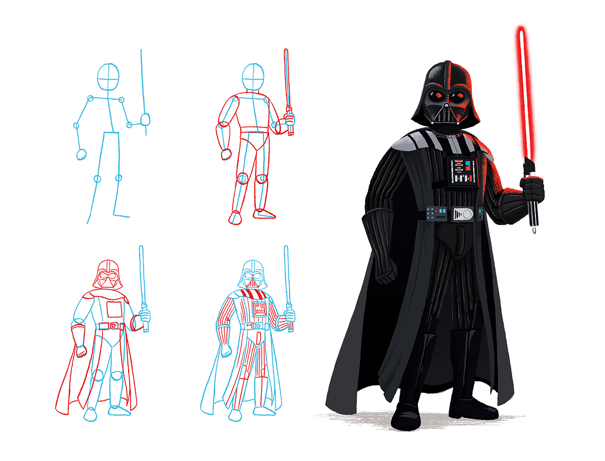 How to draw Darth Vader from Star Wars by Chris Chatterton