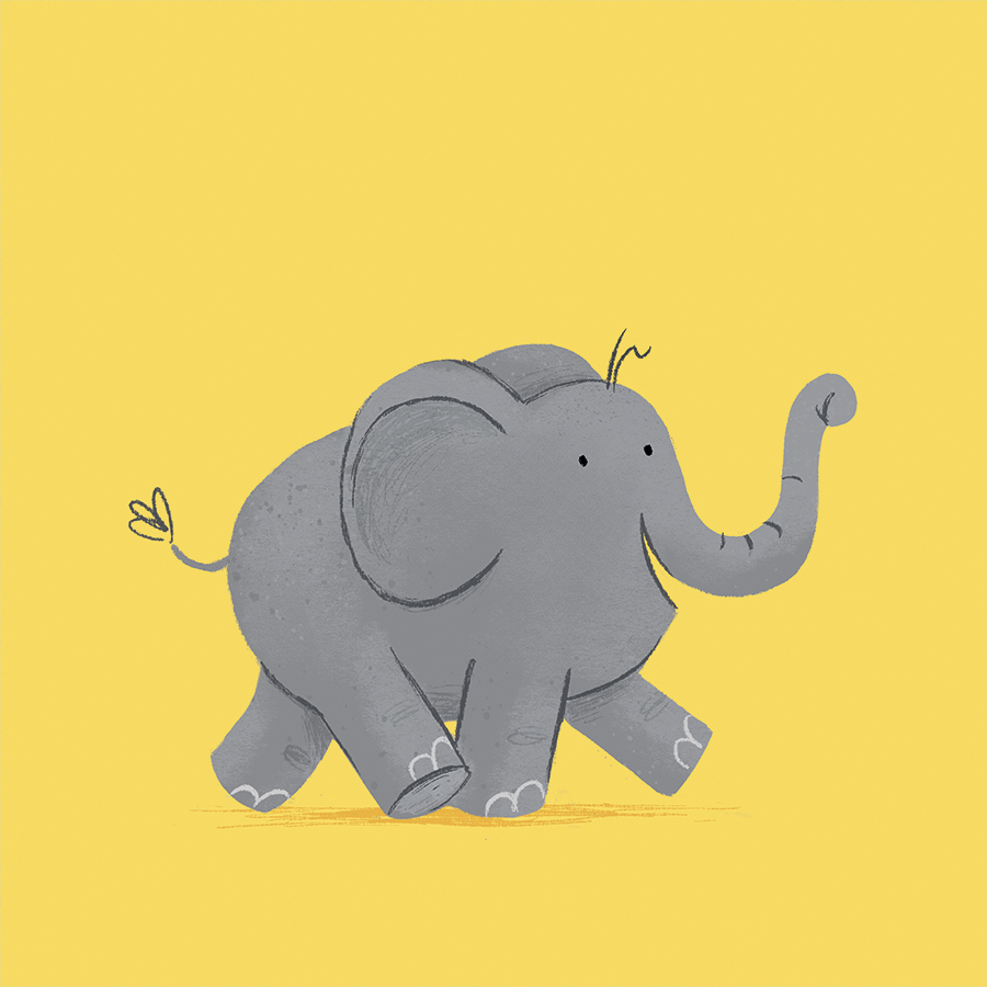 Baby Elephant marching illustration by Chris Chatterton