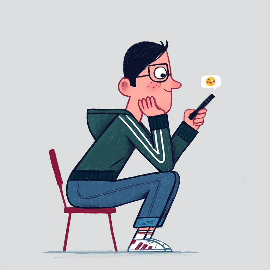 Sitting Hipster illustration by Chris Chatterton