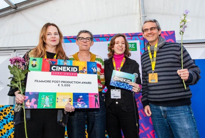 Producer Merete Korsberg, Jury members Greet Stevens (BE), Judy Steenman (NL) and scriptwriter/writer of the original novel, Endre Lund Eriksen. Photo: Cinekid festival.