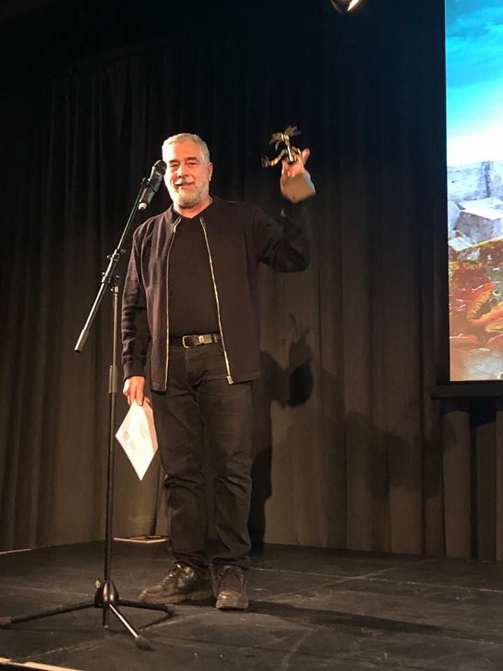"Director Pjotr Sapegin recievs the The Golde Gunnar for his shortfilm ""Origin of man"" at Fredrikstad Animation Festival."