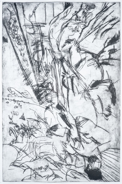 """what remained after a walk with Anne and Joe 32""""x48"""" drypoint print"""